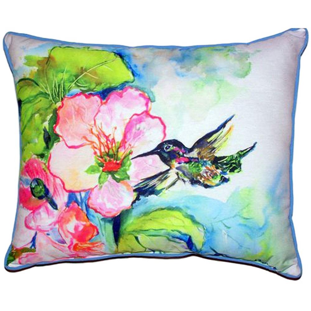 Hummingbird Hibiscus Indoor Outdoor Pillow 20x24 | Betsy Drake | BDZP437