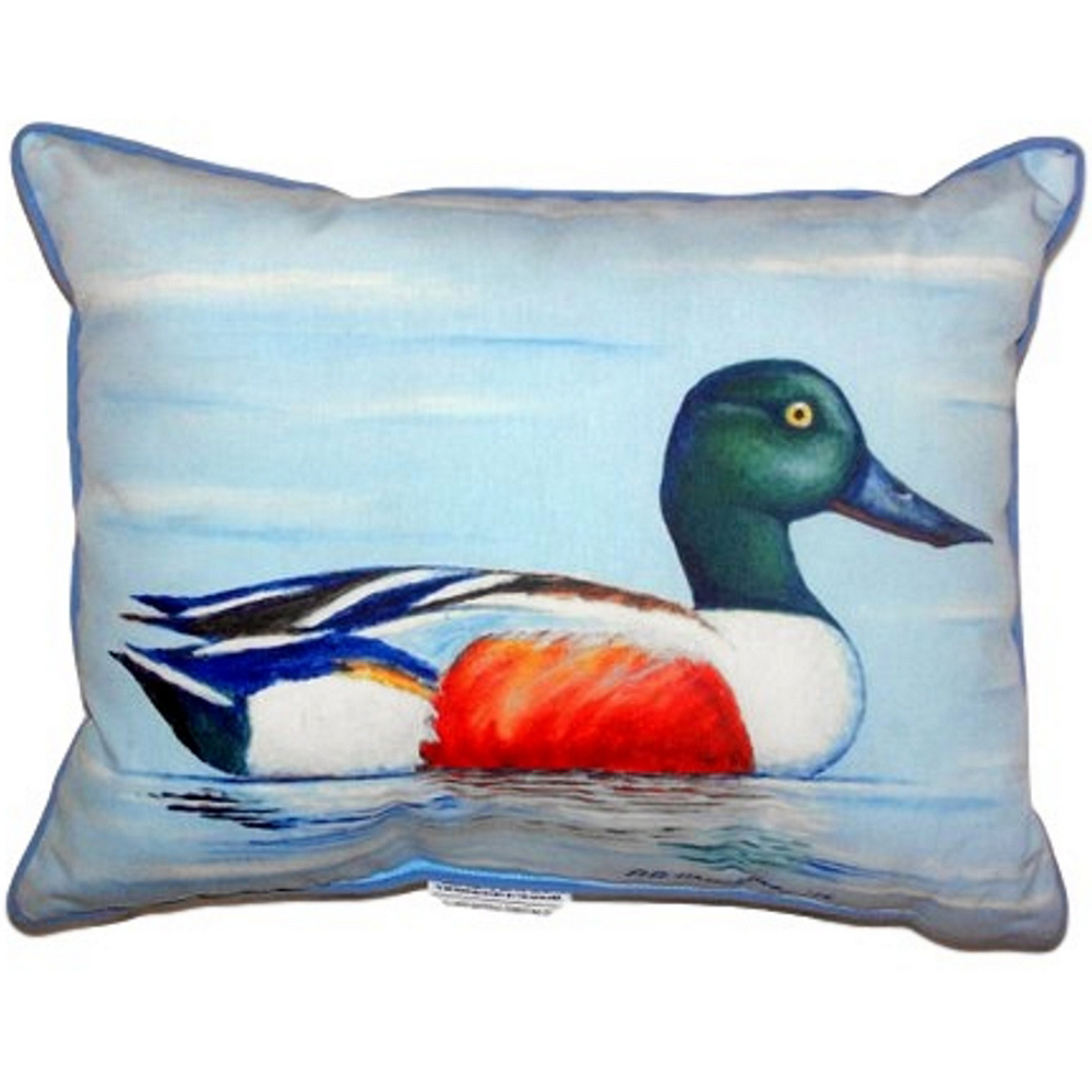 Northern Shoveler Duck Indoor Outdoor Pillow 20x24 | Betsy Drake | BDZP465