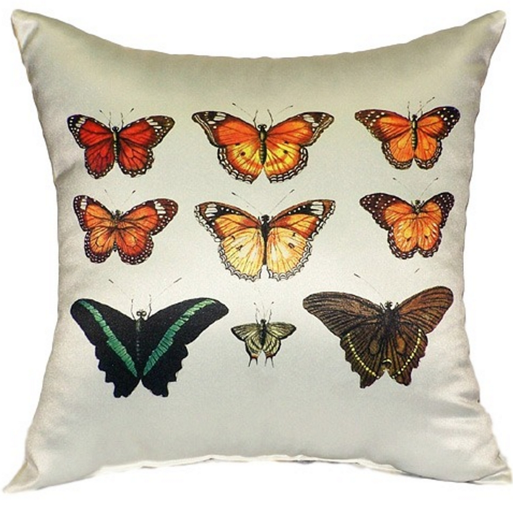 Orange Butterfly Indoor Outdoor Pillow 22x22 | Betsy Drake | BDZP026AP