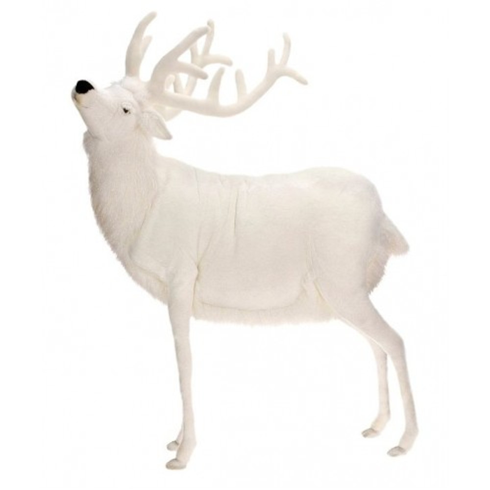 White Reindeer Giant Stuffed Animal | Plush Animal Statue | Hansa Toys | HTU5923