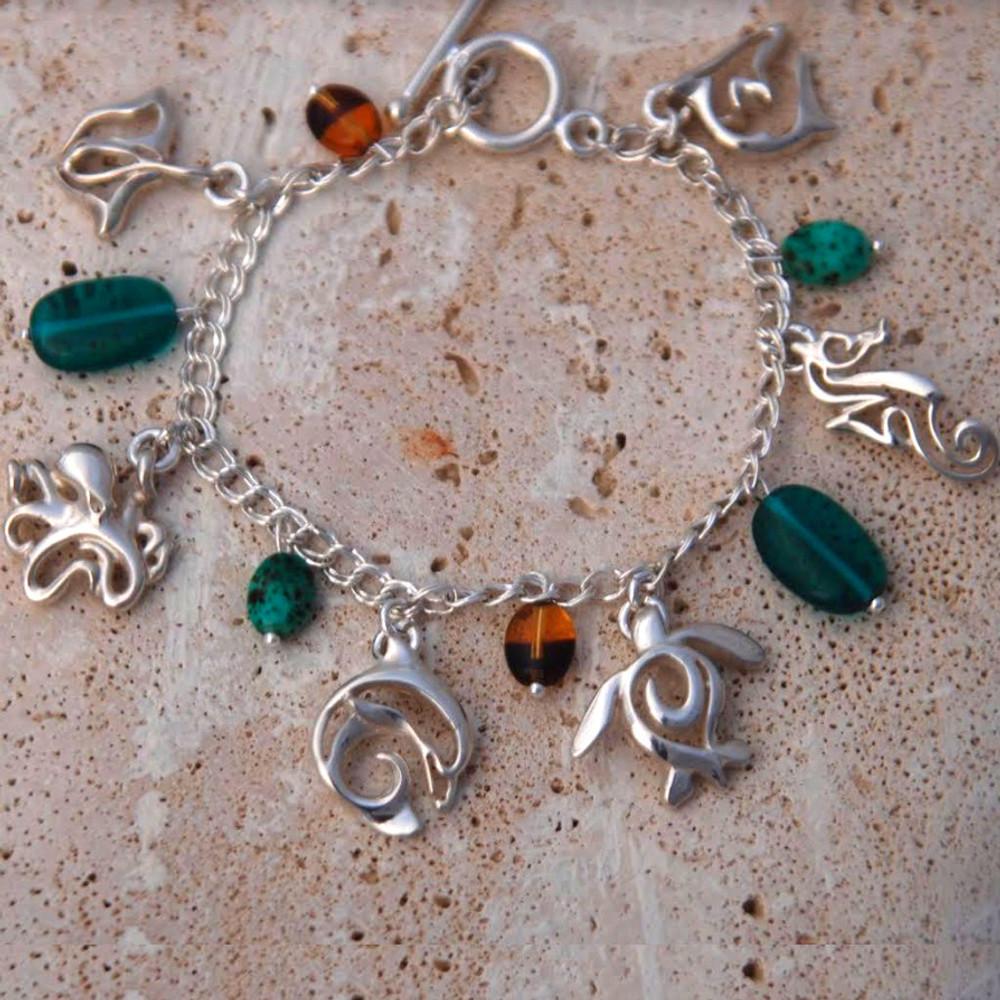 Sea Life  Link Charm Bracelet | Big Blue Jewelry | SSCHARM