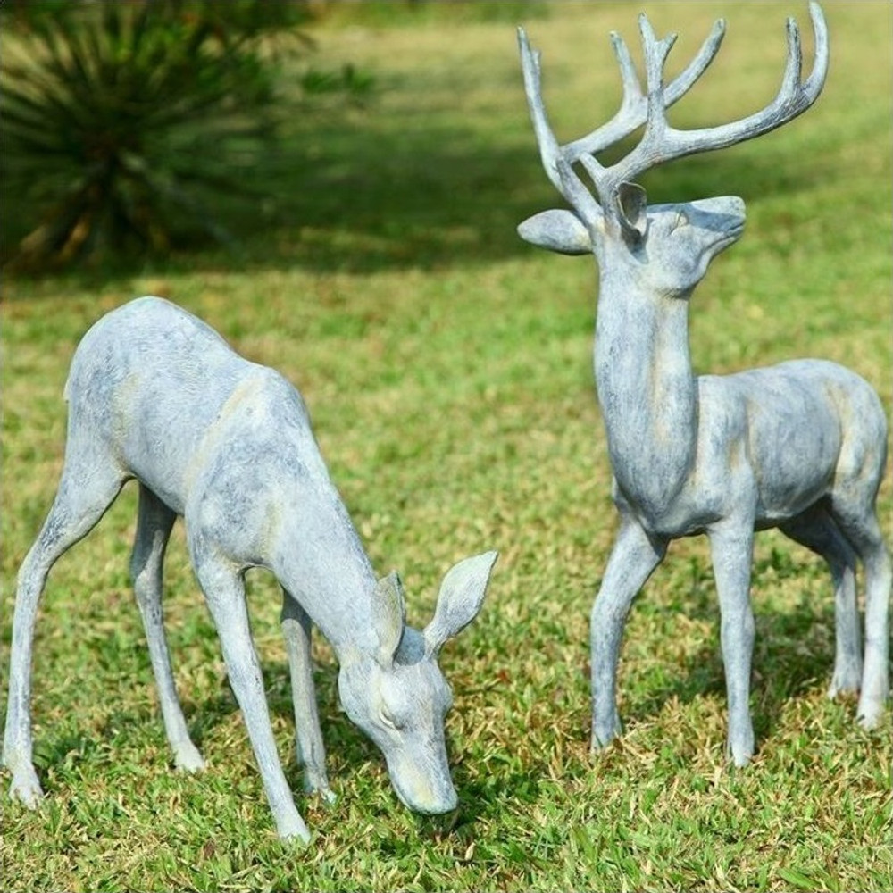 Deer Pair Grazing Sculpture   33686   SPI Home