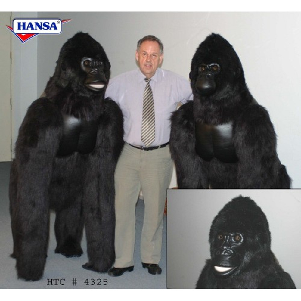 Silver Back Gorilla Life-Sized Stuffed Animal | Plush Gorilla Statue | Hansa Toys | HTU4325