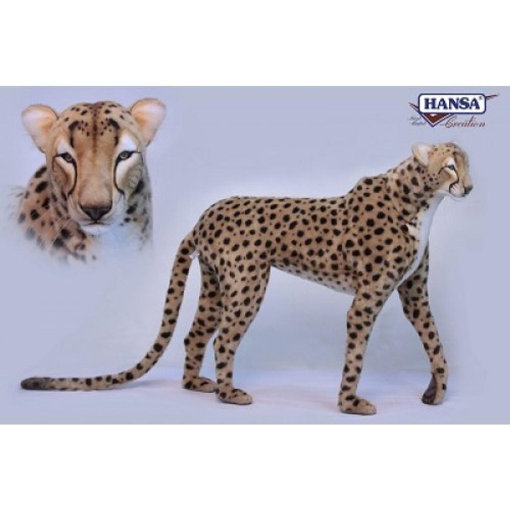 Cheetah Standing Stuffed Animal   Plush Cheetah Statue   Hansa Toys   HTU6544