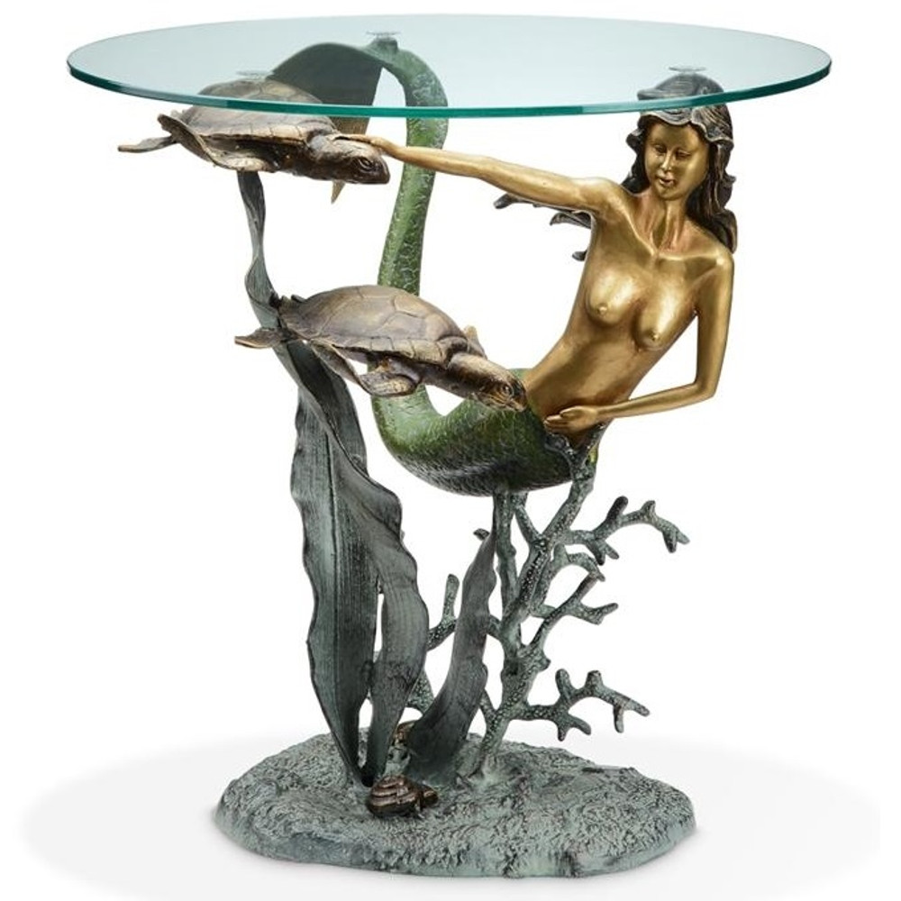 Mermaid and Sea Turtles End Table | 33708 | SPI Home