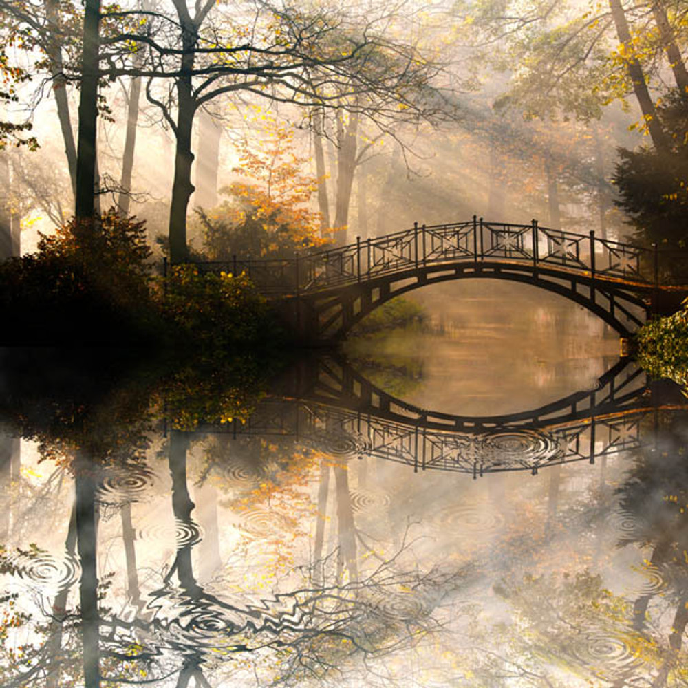 Misty Autumn Bridge Artisanal Wooden Jigsaw Puzzle | Zen Art & Design | ZADMISTYBRIDGE