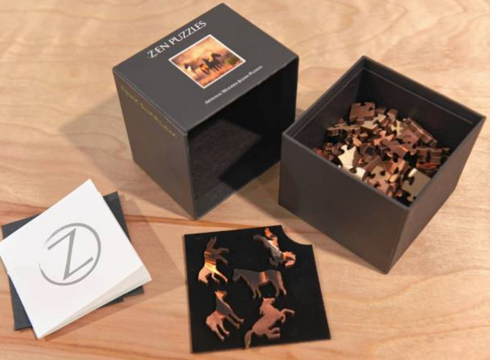 Morning Mountain Mist Artisanal Wooden Jigsaw Puzzle | Zen Art & Design | ZADMORNMIST