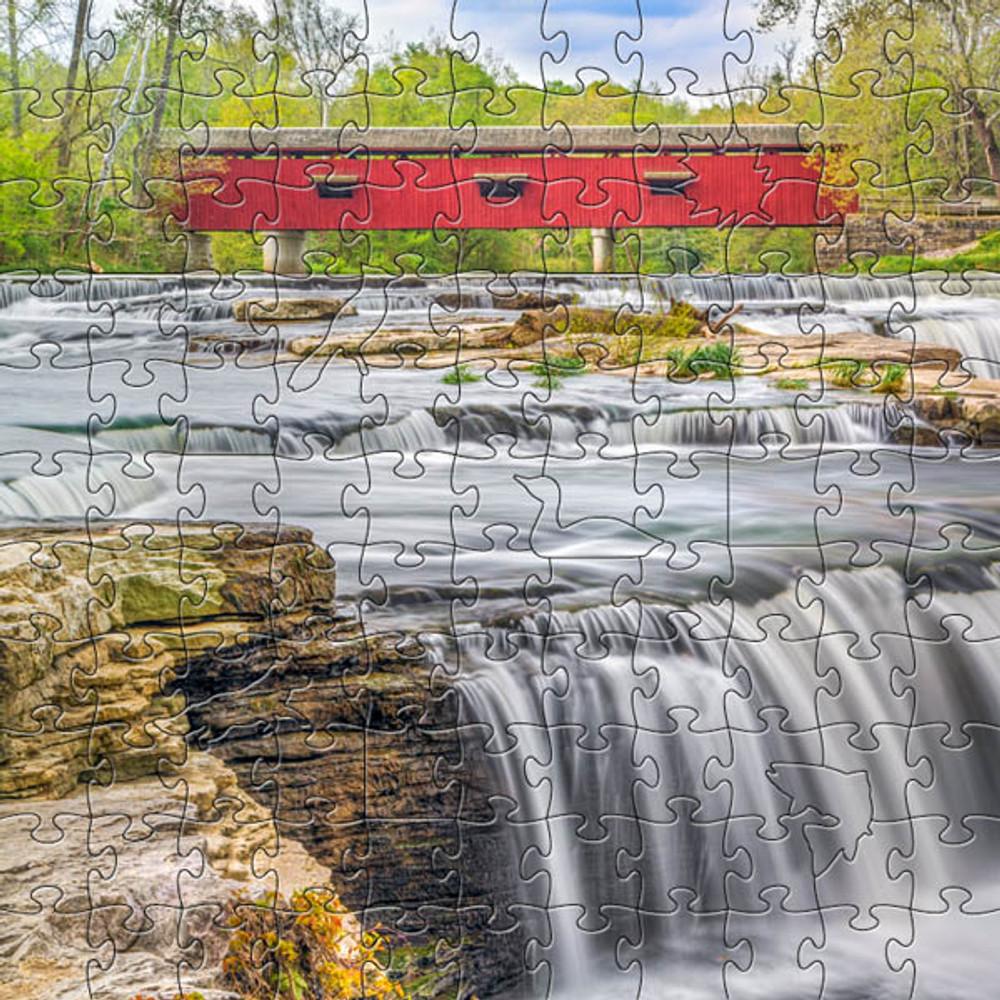 Red Covered Bridge Artisanal Wooden Jigsaw Puzzle   Zen Art & Design   ZADREDBRIDGE