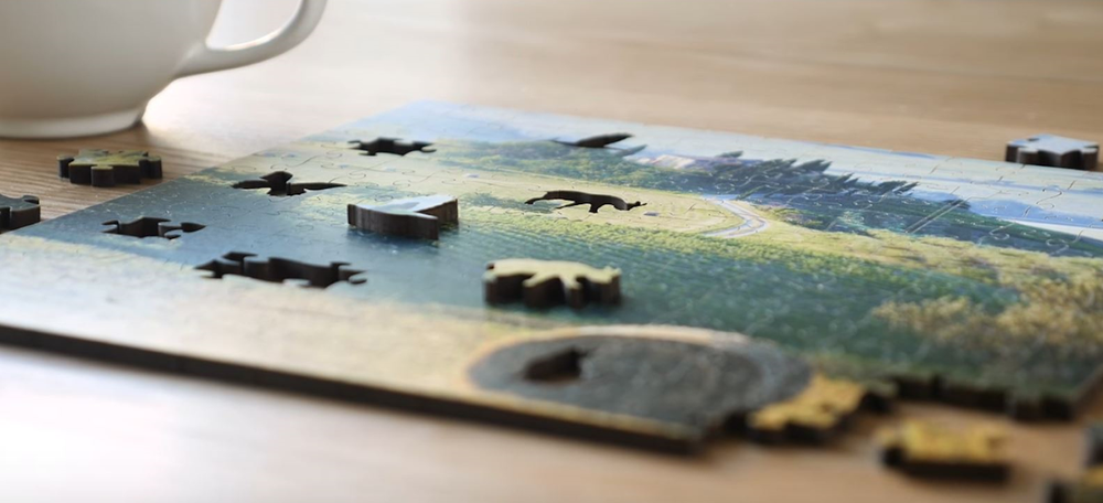 River Sunset Artisanal Wooden Jigsaw Puzzle | Zen Art & Design | ZADRIVSUNSET