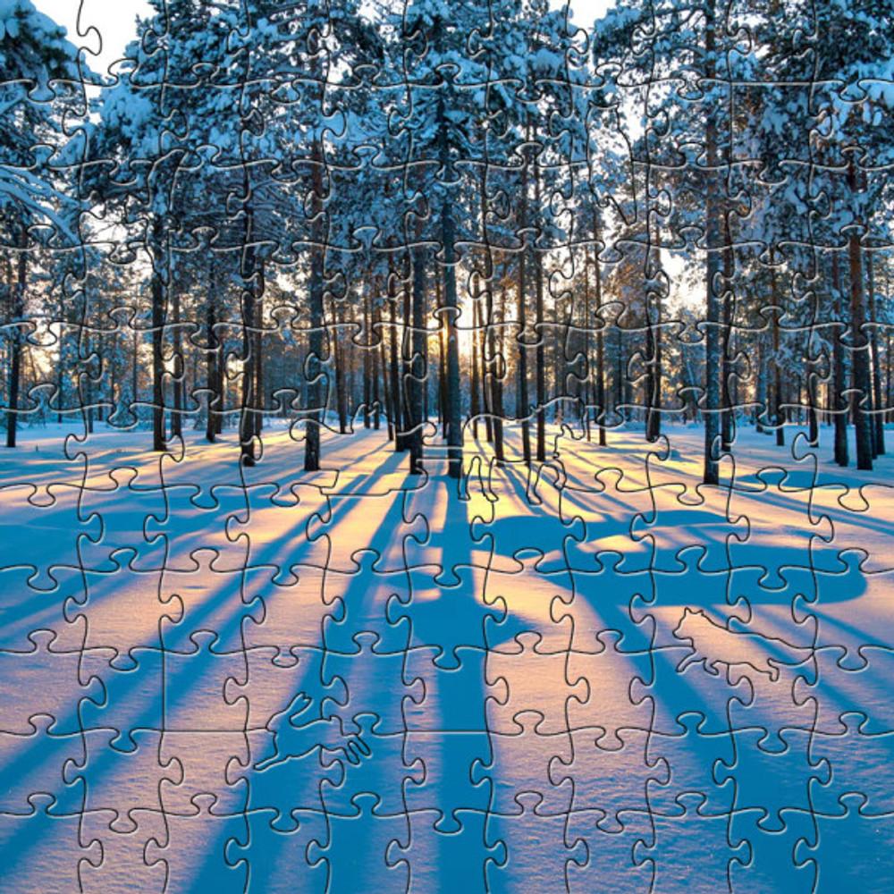 Sunrise in a Winter Forest Artisanal Wooden Jigsaw Puzzle   Zen Art & Design   ZADSUNRISEWFOREST