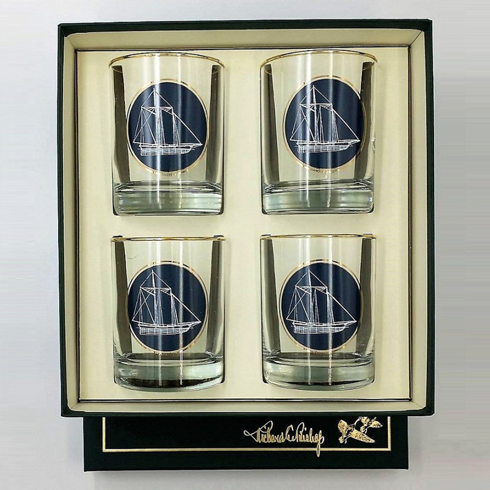 Sailboat Double Old Fashioned Glass Set   America's Cup   Richard Bishop   2026AME