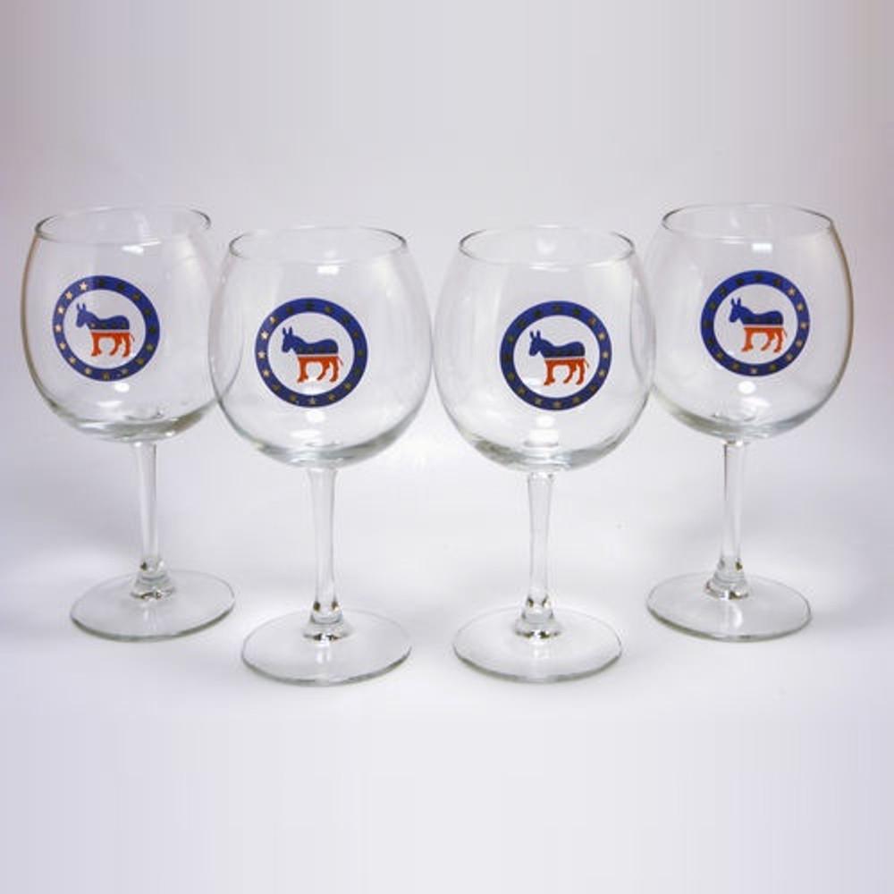 Democrat Donkey Wine Glass Set   Richard Bishop   2045DEM