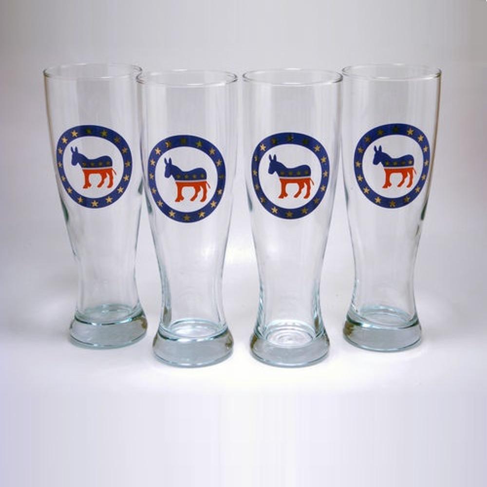 Democrat Donkey Pilsner Glass Set   Richard Bishop   2041DEM