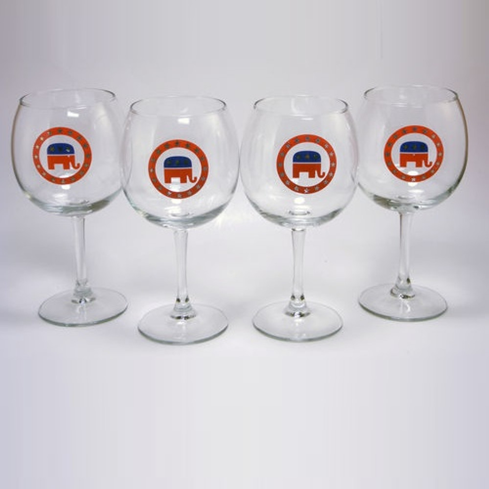 Republican Elephant Wine Glass Set | Richard Bishop | 2045REP