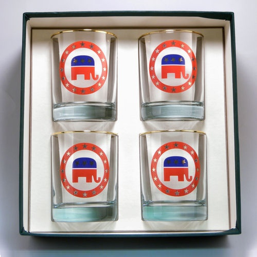 Republican Elephant Double Old Fashioned Glass Set | Richard Bishop | 2026REP