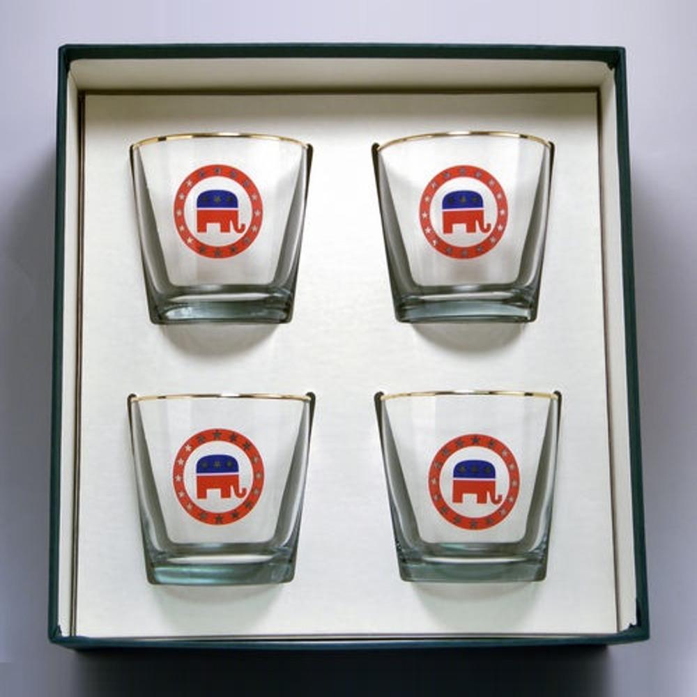 Republican Elephant Cocktail Glass Set   Richard Bishop   2025REP