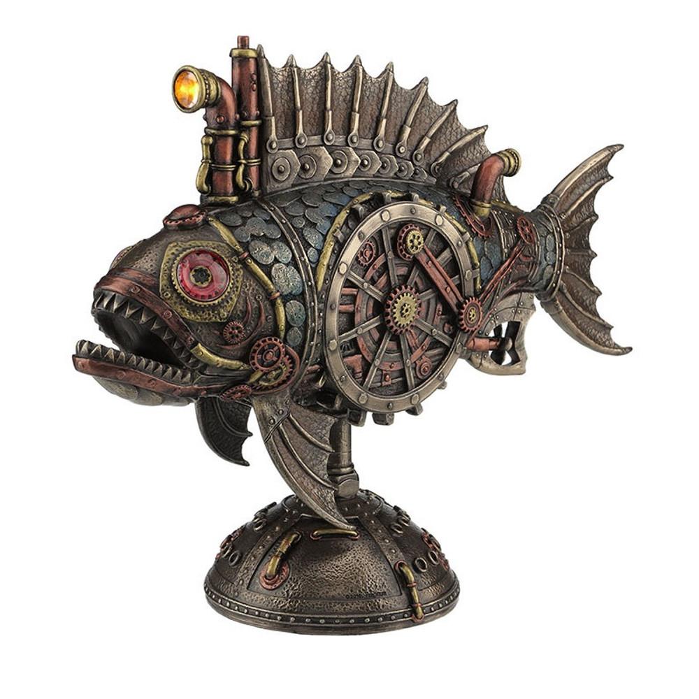 Steampunk Fish Submarine Sculpture | Unicorn Studios | WU77120V4