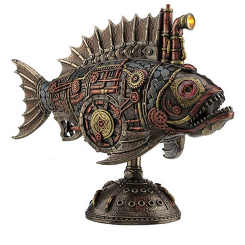 Steampunk Fish Submarine Sculpture | Unicorn Studios | WU77120V4 -2