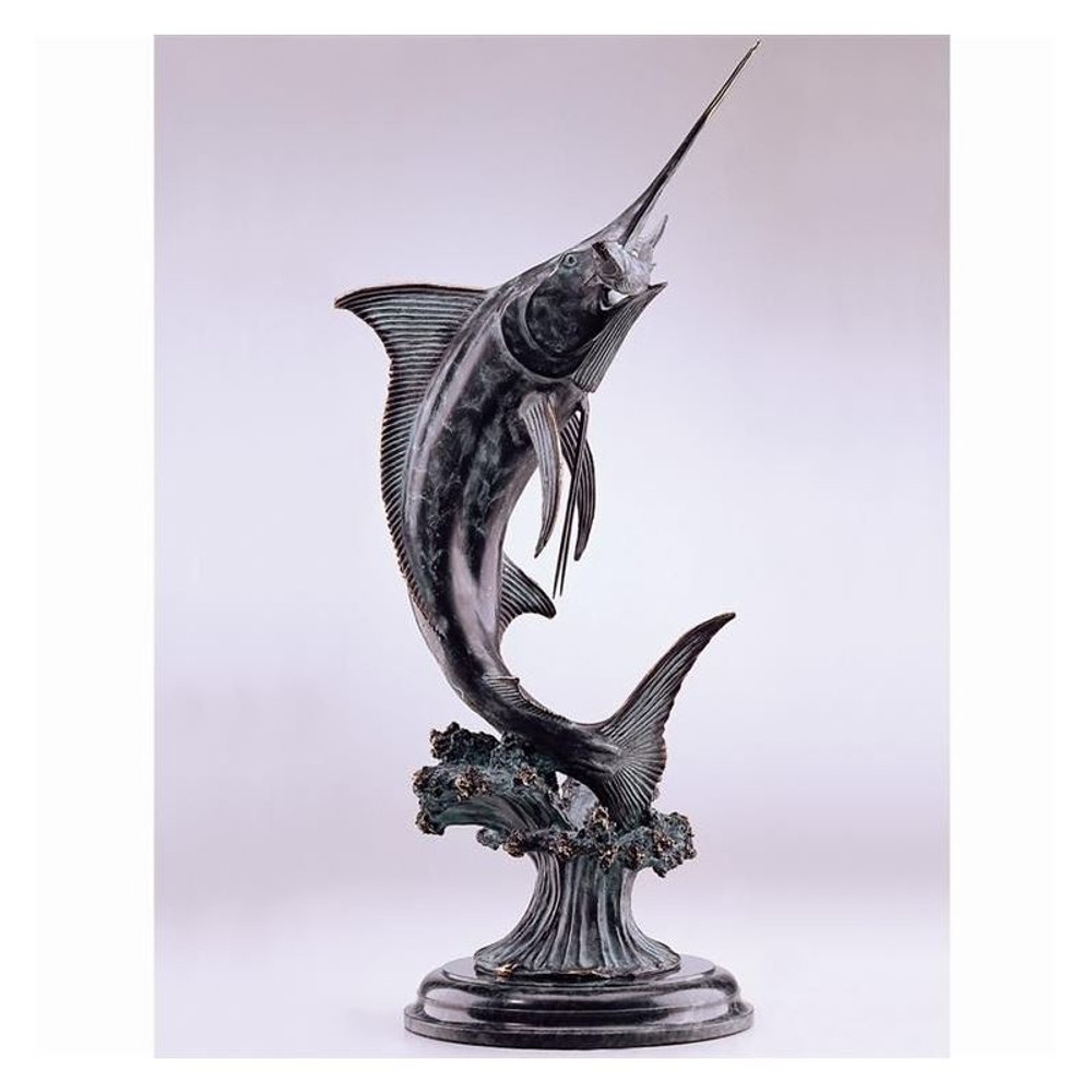 Marlin Brass and Marble Sculpture | 30814 | SPI Home