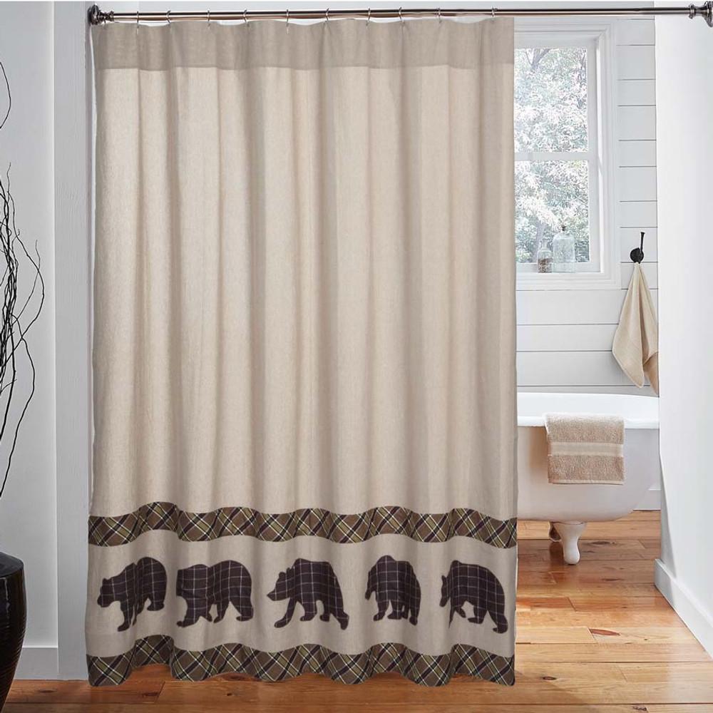 Bear Wyatt Shower Curtain   VHC Brands   34327