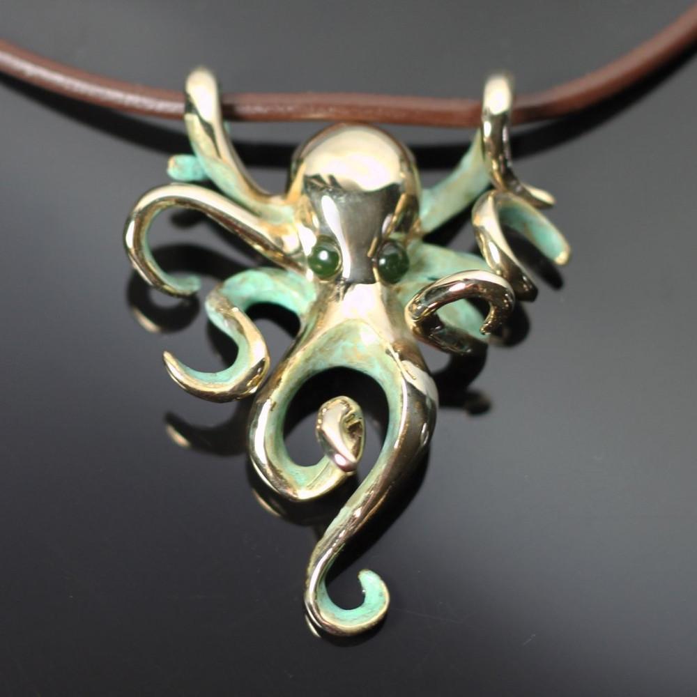 Octopus Bronze Pendant on Cord | Anisa Stewart | BRS1022jade