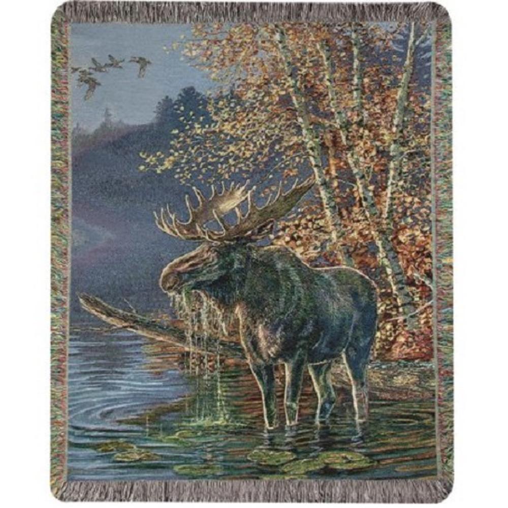 Moose Tapestry Throw Blanket   Manual Woodworkers   MWWATMOWR
