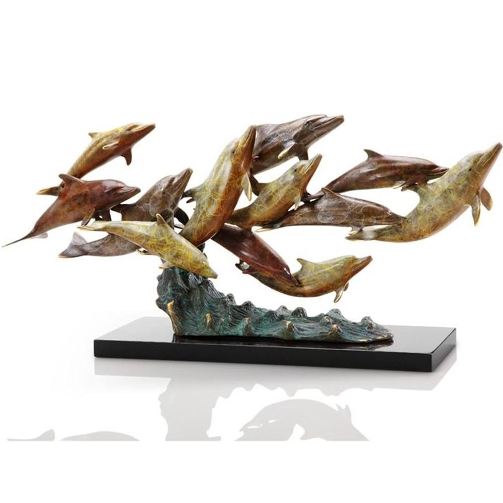 Dolphin Sculpture Dozen Swimming   80266   SPI Home