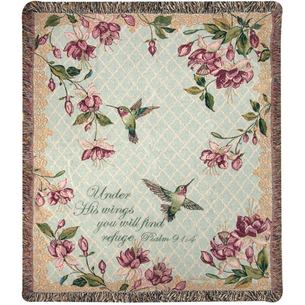Hummingbird Inspirational Tapestry Throw Blanket | Manual Woodworkers | ATRAFV