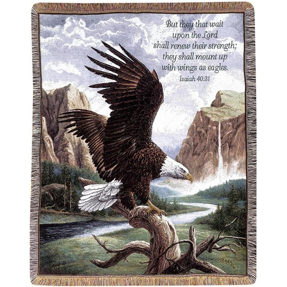 Eagle Inspirational Tapestry Throw Blanket | Manual Woodworkers | ATPFRV