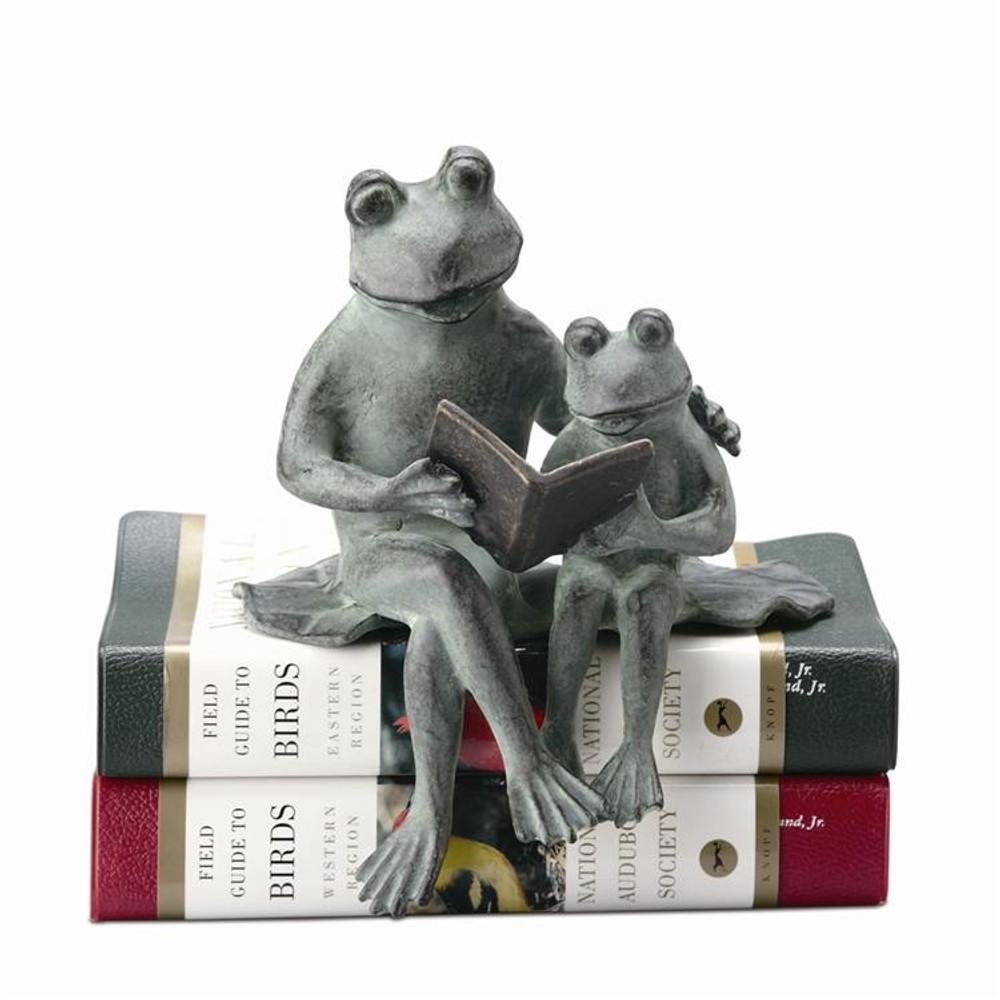 Frog Shelf Sitter Sculpture | Parent and Kid Reading | SPI Home | 33408