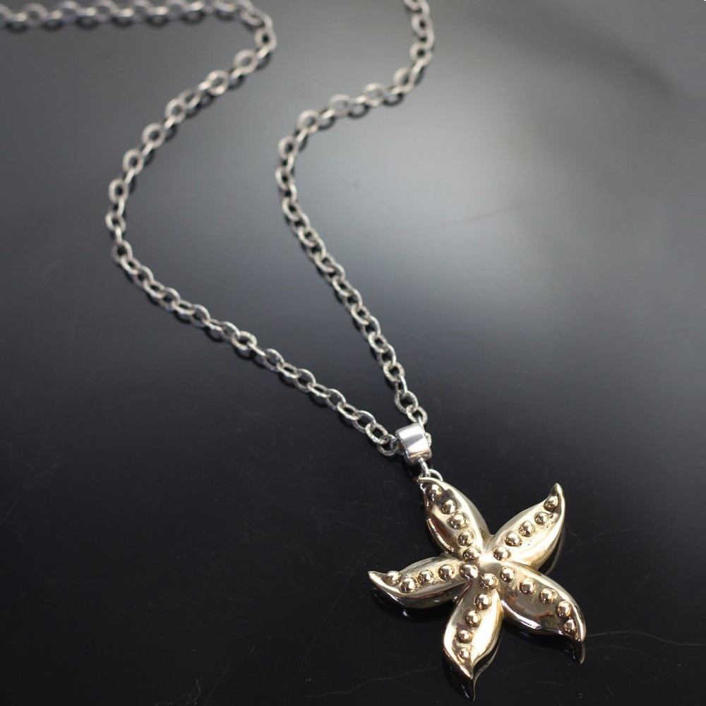 Starfish Bronze Pendant on Silver Chain   Anisa Stewart Jewelry   ASJBRS1019-C