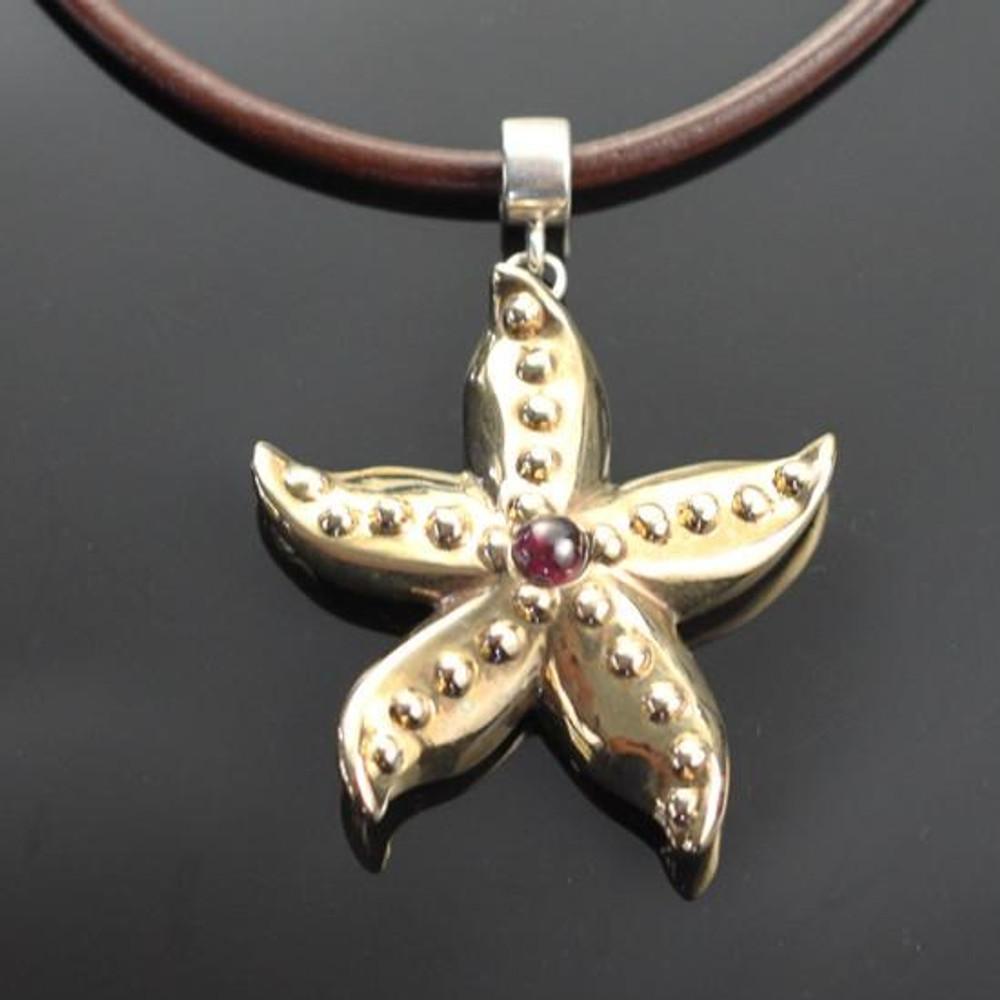 Starfish Bronze Pendant with Garnet Necklace   Anisa Stewart Jewelry   ASJBRS1019-G