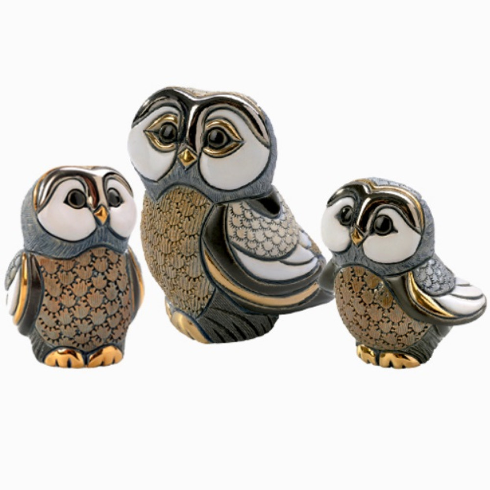 Blue Tawny Owl Family Figurine Set   De Rosa   Rinconada   F328A F328B F128