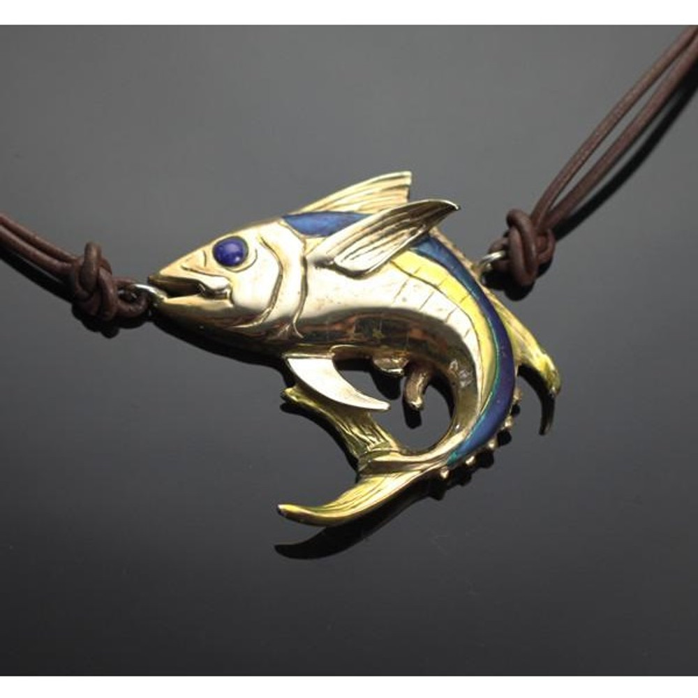 Yellowfin Tuna Bronze Pendant Necklace on Cord | Anisa Stewart Jewelry | ASJBRF1020-N