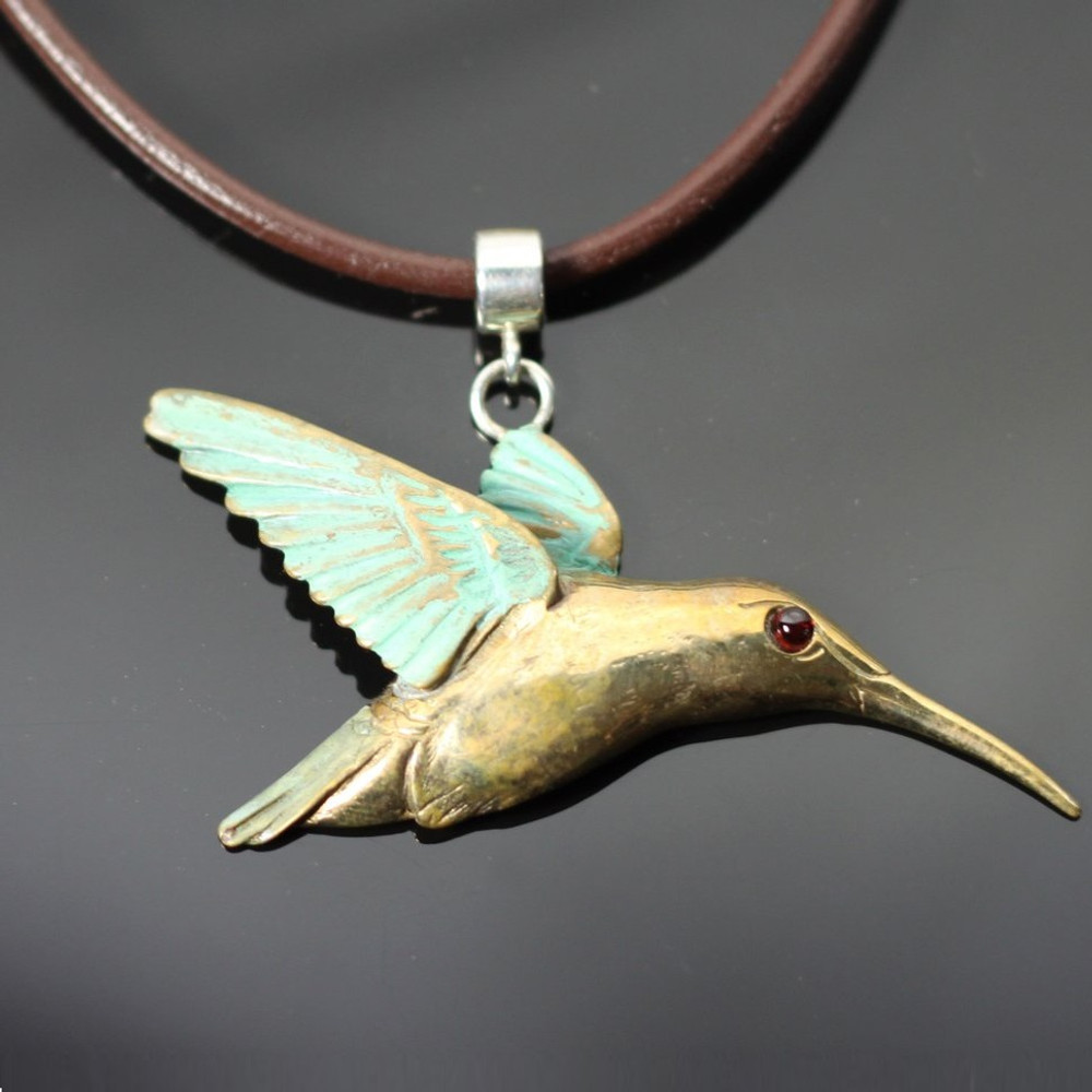 Hummingbird Bronze Pendant Necklace | Anisa Stewart Jewelry | ASJBRW1008
