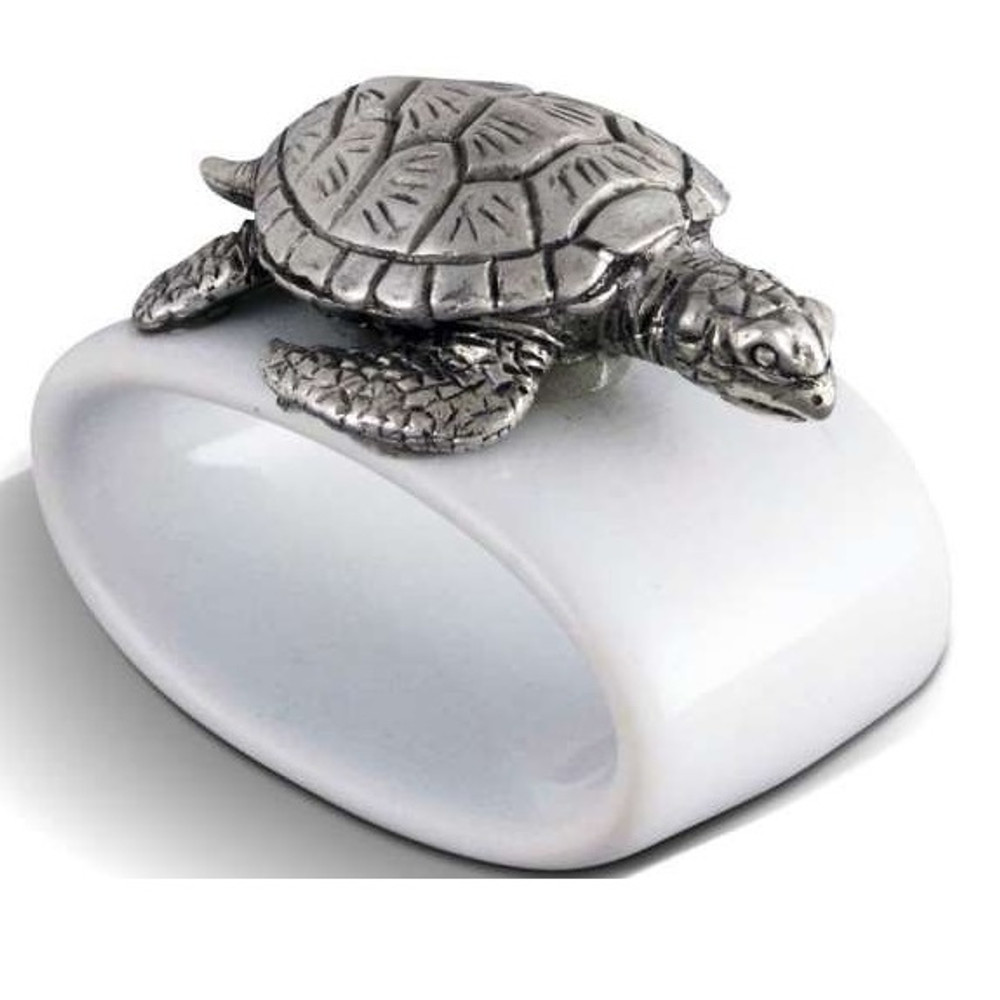 Sea Turtle Stoneware Napkin Ring Set of 4 | Vagabond House | O316T-4