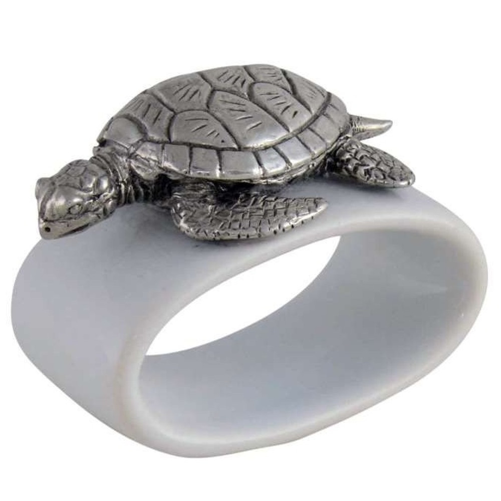 Sea Turtle Stoneware Napkin Ring Set of 4 | Vagabond House | O316T-4 -2