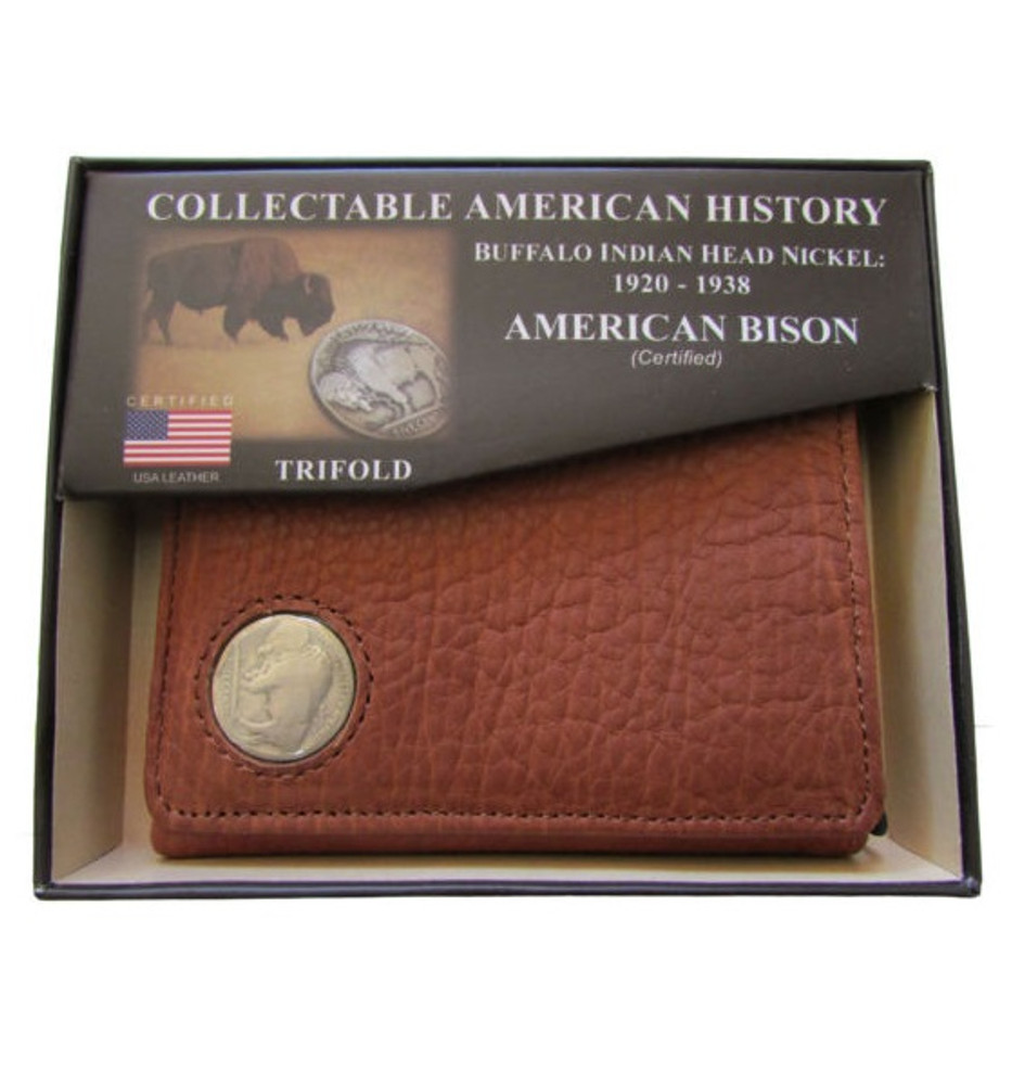 American Bison Buffalo Nickel Men's Trifold Wallet | KPBIS16
