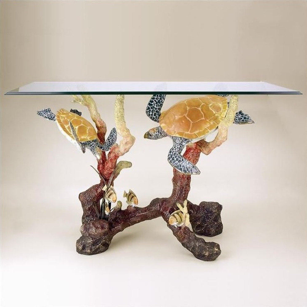 Sea Turtle Brass Glass Console Table | 31038 | SPI Home
