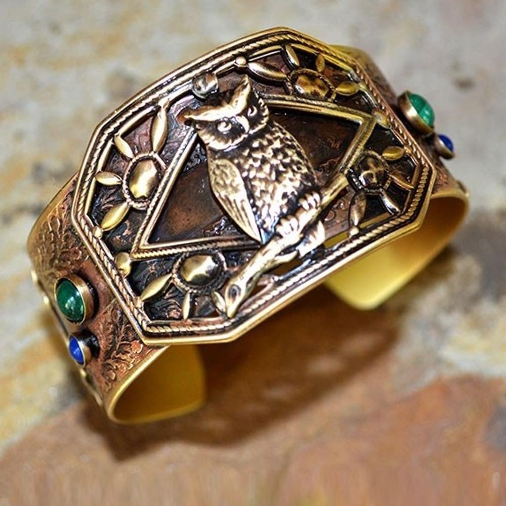 Owl on Branch Brass Cuff Bracelet | Elaine Coyne Jewelry | OWAB11bc