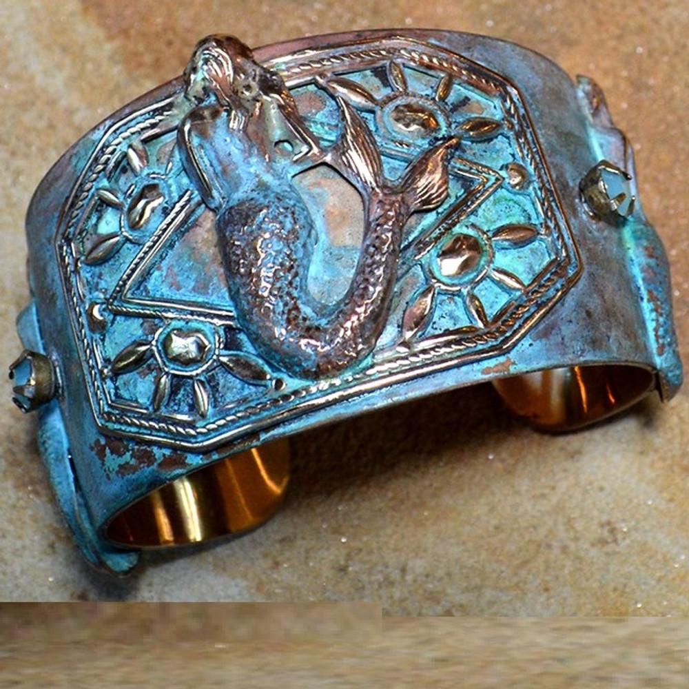 Mermaid Patina Brass Cuff Bracelet | Elaine Coyne Jewelry | MEP686bcCR