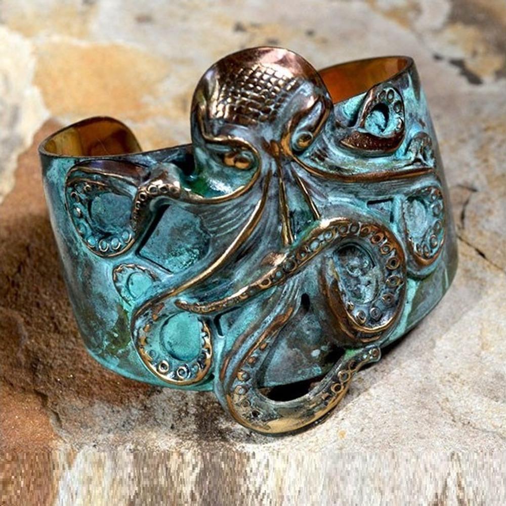 Octopus Patina Brass Cuff Bracelet   Elaine Coyne Jewelry   OCP49cf