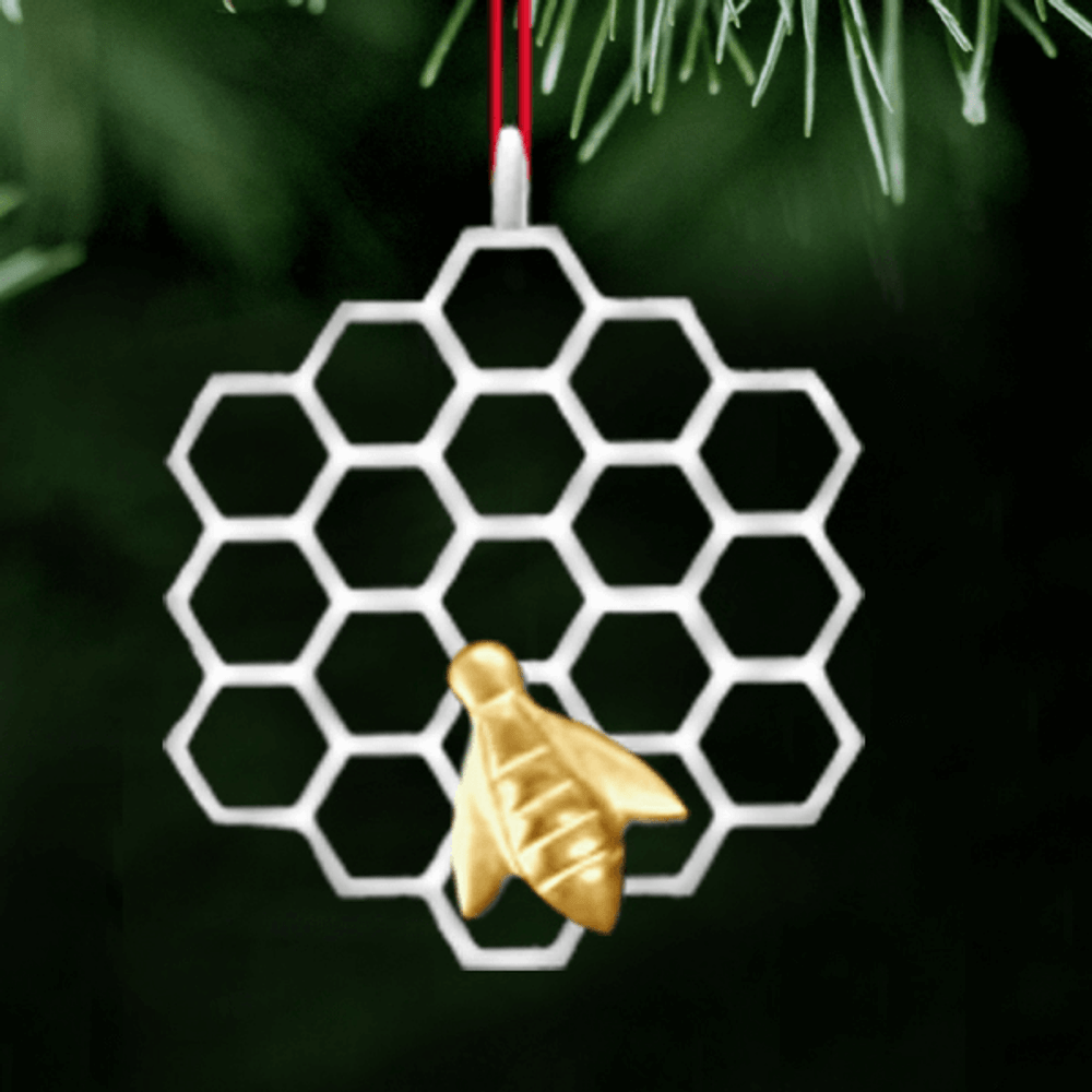 Bee Gold Polished Pewter Ornament   Lovell Designs   LOVOR204G