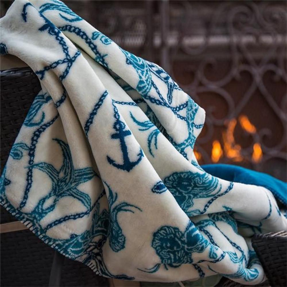 Mermaid and Anchor Micro Plush Throw Blanket | Denali | 16113472