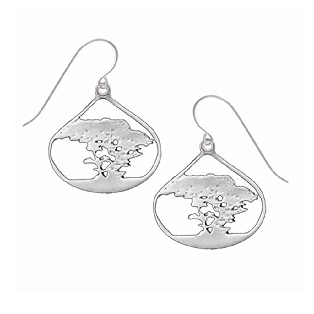 Cypress Tree Pewter Drop Earrings-2
