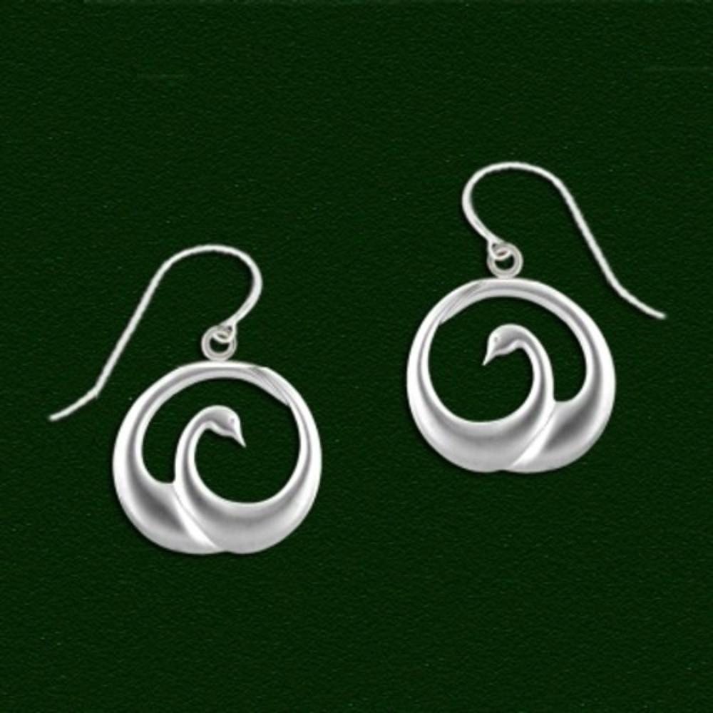 Swan Pewter Drop Wire Earrings