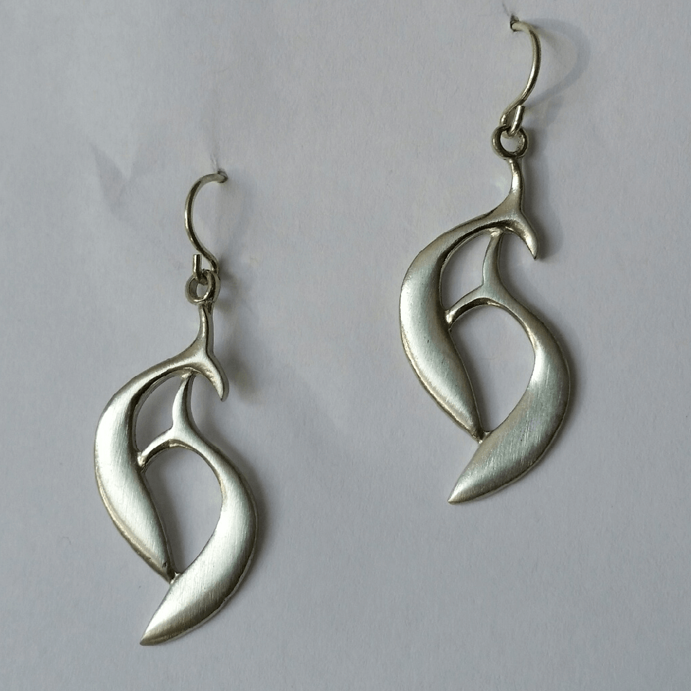 "Dolphin Pewter Drop Wire Earrings ""Harmony Bay"""
