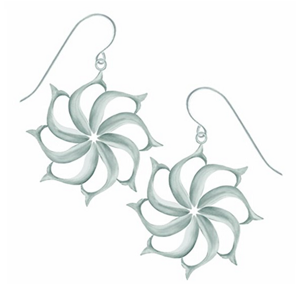 """Fish Pewter Drop Wire Earrings """"North Star""""-2"""