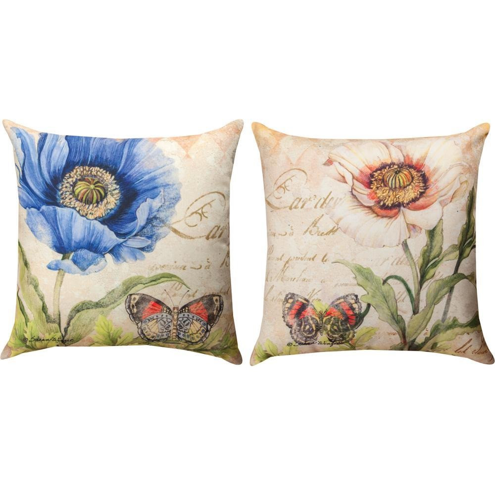 Poppy Blue and White Reversible Indoor/Outdoor Pillow | Manual Woodworkers | SLPOPB