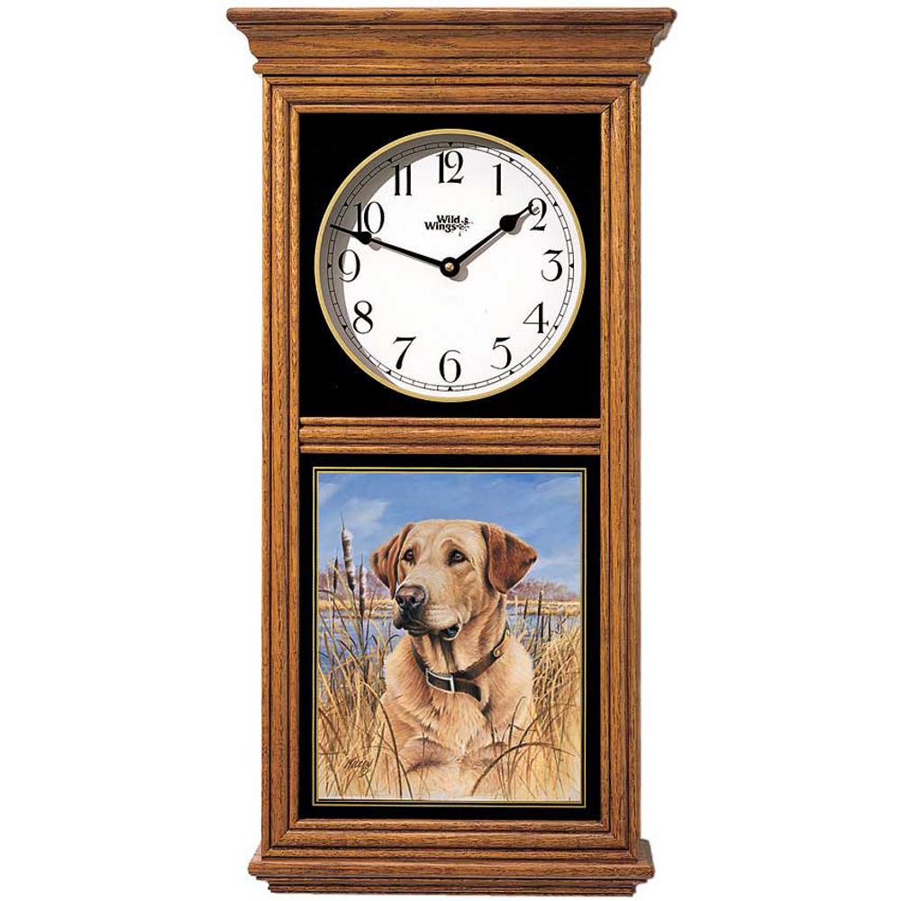 Yellow Lab Oak Wood Regulator Wall Clock   Wild Wings   5982660156